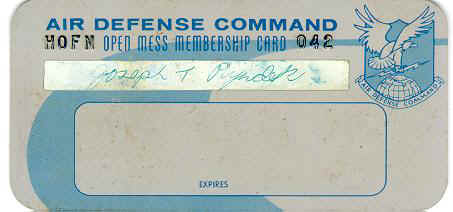 Membership Card to the NCO Club